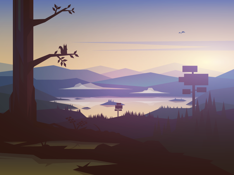 Squirrel town game pine forest lake illustration mountain landscape