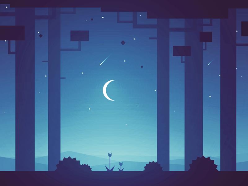 Nighty night level stars trees game moon night