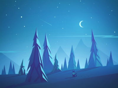 Santa Claws landscape night forest christmas cat
