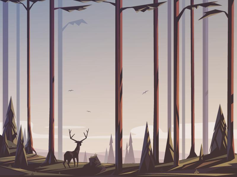 Trees and stuff sunset illustrator landscape deer forest