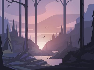 Afternoon birds trees illustrator landscape forest
