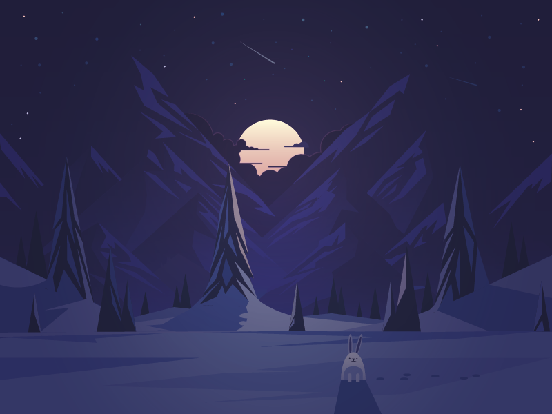 Hare moon night illustration landscape christmas hare winter