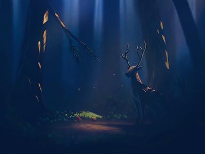 Afternoon walk landscape deer forest illustration procreate speedpaint