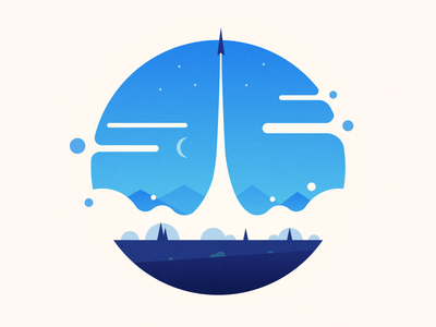 Raket space landscape illustration launch rocket