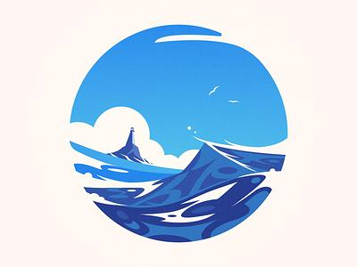Styv kuling web illustration waves ocean landscape lighthouse
