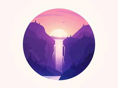 Waterfall landscape forest sunset illustration waterfall