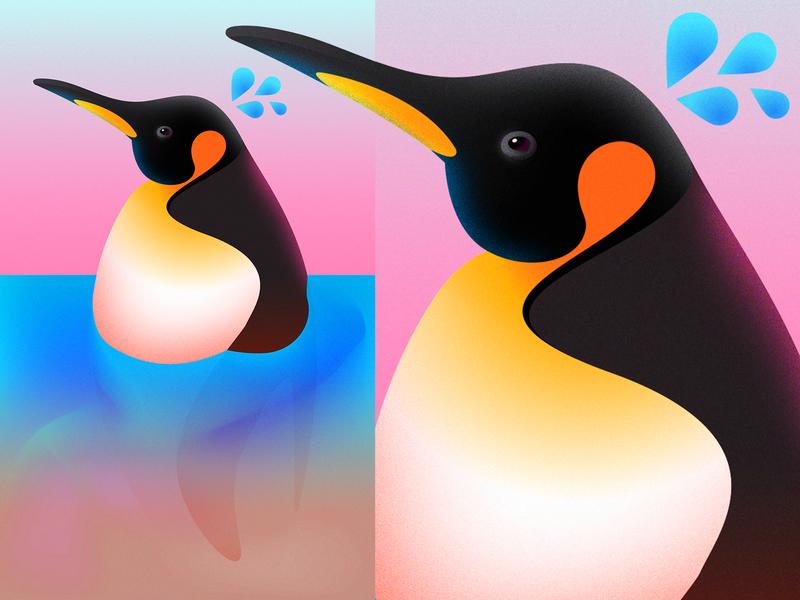 Raising Sea Temperatures Effect on Emperor Penguins gradients editorial illustration illustration