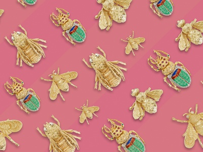 Cute as a Bug gold graphic advertising pink antiques bugs jewelry