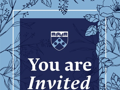 Invitation Snippet design blue drawing invitation upenn spring floral