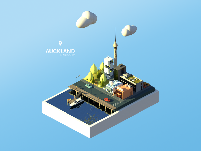 Auckland Harbour adobe photoshop newzealand auckland buildings town blender 3d city