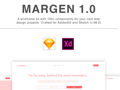 Margen Wireframe Kit for Sketch and Adobe XD