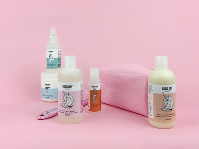 Good Day Hairshop Packaging Design illustration unicorns beauty packaging