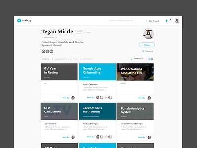 MadeBy Profile Page profile page website ui