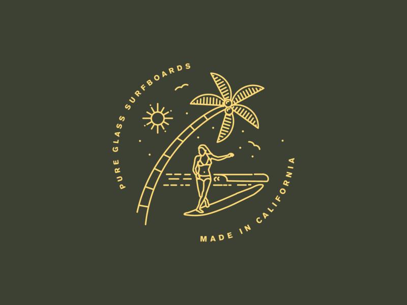 Surf Brand TShirt Illustration monoline surfer surf illustration