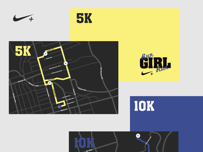 Nike Running - Race Map Cards running graphic design sports map