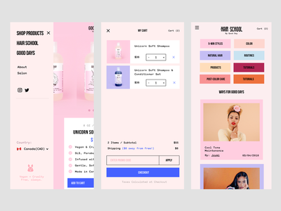 Mobile Web eCommerce beauty pastels filters cart mobile web ecommerce