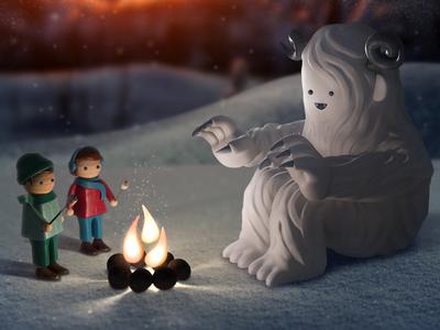 Peace on Earth christmas 3d character snow fire light season monster