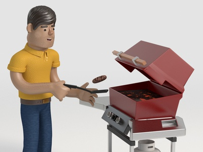 Grill Master Dad character 3d dad guy grill illustration design