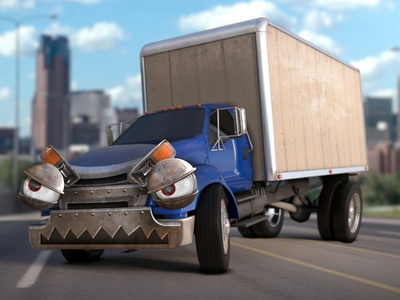 Angry Truck truck 3d face character angry cartoon