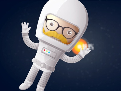 Spaceman explainer character spaceman beard glasses space ben christie 3d 2d ae