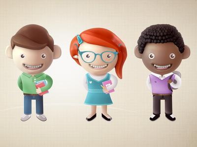Students students characters school explainer 3d 2d ben christie