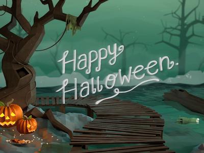 Happy Halloween! halloween moster zombie pumpkin tree spooky ben