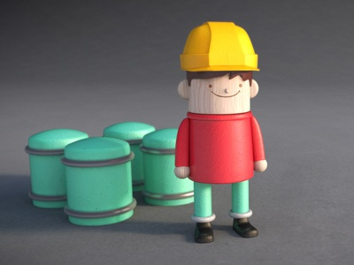 Worker Man guy vray cyc worker construction factory yellow wood 3d character model barrels hat red build