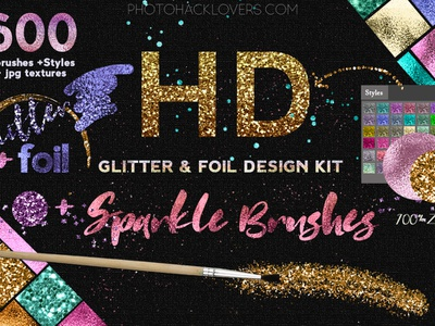 HD Glitter, photoshop brushes, textures & design kit