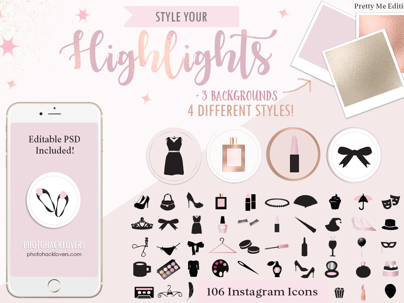 Rose Gold Highlight Icons instagram highlight cover backgrounds highlights rose gold highlight icons rose gold