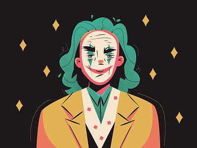joker identity cartoon character clown sad dc cinema marvel app icon logo design character illustration