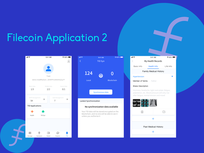 Health UI of filecoin application app ui