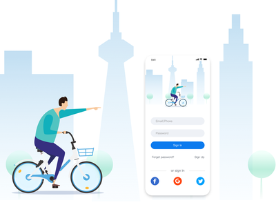 DailyUI 01 -bike sign in app mobile ui ui sign up page