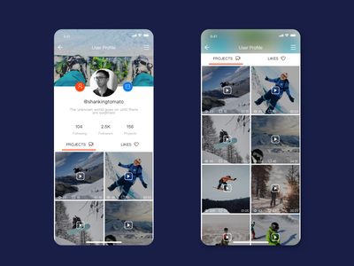 Daily UI 006 user profile user profile app dailyui