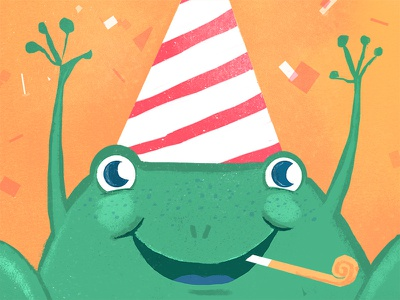 Party frog. illustration card frog party birthday