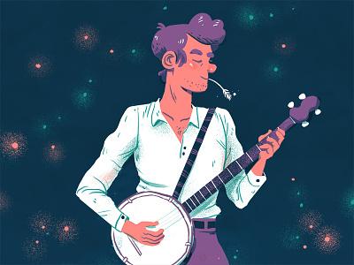 Neon banjo banjo man illustration