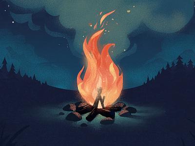 Relax night fire campfire
