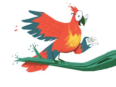 Poet Parrot illustration parrot