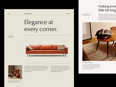 Modernist product decor furniture layout grid white black minimal typography web