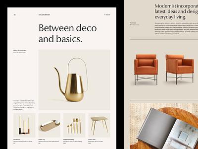 Modernist Products decor furniture grid layout white black minimal typography web