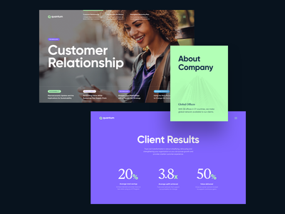 Quantum consulting about news company slider grid layout typography web