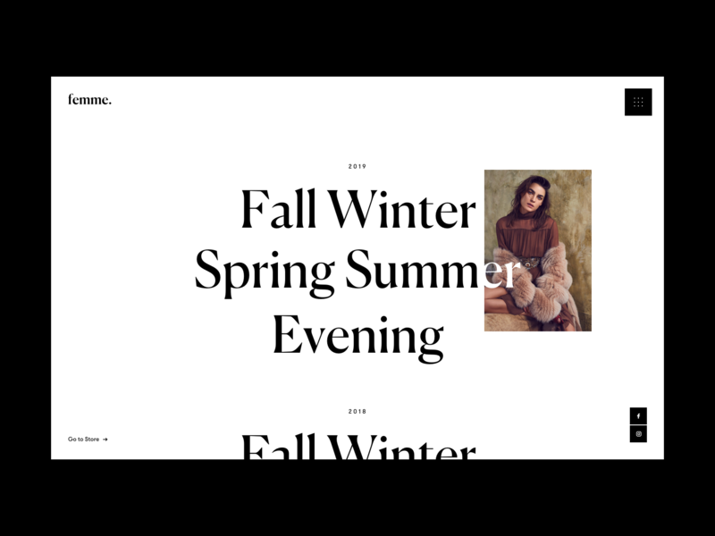 Fashion Collections minimal website grid photograhy typo whitespace white black design fashion typography web