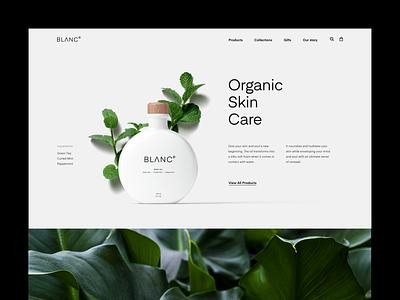 Blanc product minimal white black typography web