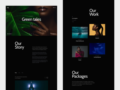 Content Production Company Website layout video photograhy black minimal typography web