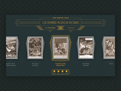 Tv On Demand Art Deco Style — UI Weekly Challenges art noveau design vod classic bioshock on demand movies art deco