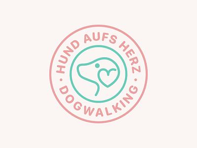 Logomotion pink green petshop soft minimalism simple pet animation outline heart dog motion logo
