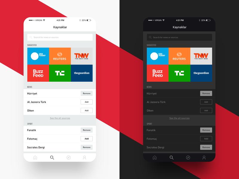 Bundle News App ux minimalism concept digital web source news interface night mode app ui uidesign