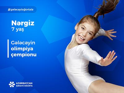 AIIC #gələcəyisığortala Campaign KV 3 of 3 kids manipulation minimalism digital concept design typography bank