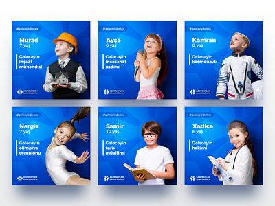 AIIC #gələcəyisığortala All Posts of Campaign web cover art retouch post creative blue manipulation kids bank minimalism digital typography design concept