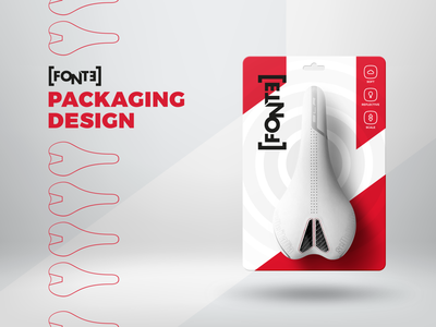 Fonte Saddle Packaging sport bicycle concept red cool icon typography design branding minimalism product design packaging