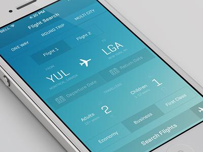 iOS7 Flight App ui ux ios7 iphone design flight app blue ios book